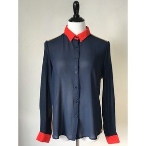 Navy Colorblock Blouse